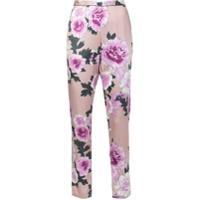 Fleur Du Mal Calça De Pijama Em Seda Floral - Rosa