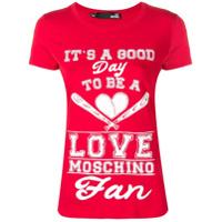 Love Moschino Quote Print T-Shirt - Vermelho