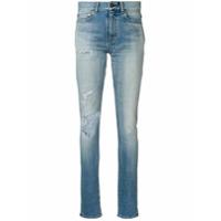 Saint Laurent Calça Jeans Skinny Desgastada - Azul
