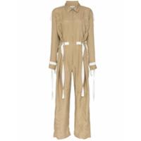 Lee Mathews Judd Aviator Collar Silk Jumpsuit - Neutro