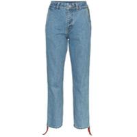 Ader Error Calça Jeans Cropped Com Listra Lateral - Azul