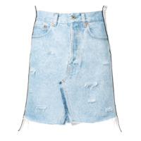 Forte Dei Marmi Couture Saia Jeans Com Detalhes Puídos - Azul