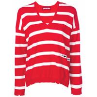 Guardaroba Suéter Listrado Com Gola V - Vermelho