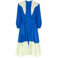 Batsheva Vestido Midi Western Com Contraste - Azul