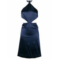 Taller Marmo Vestido De Cetim Com Detalhe De Recortes - Azul