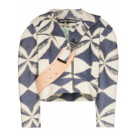 Chopova Lowena Jaqueta Cropped Com Estampa Geométrica - Azul