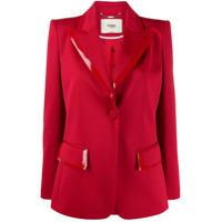Fendi Single-Breasted Leather-Trim Blazer - Vermelho