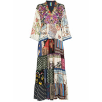 Rianna + Nina Multi Floral Polka Dot Print Silk V-Neck Kaftan Dress - Estampado