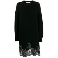 Givenchy Lace Hem Sweater Dress - Preto