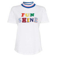 Mira Mikati Camiseta Funshine Flocked Com Aplicação - Branco