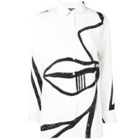 Salvatore Ferragamo Camisa De Seda Estampada 'visage' - Branco