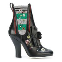 Fendi Ankle Boot Bordada - Preto