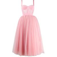 Dolce & Gabbana Vestido Midi Com Tule - Rosa