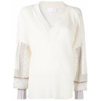 Mame Suéter Decote Em V - Branco