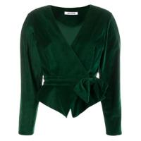 Batsheva Blazer Cropped De Veludo - Verde