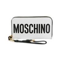 Moschino Carteira De Couro Com Logo E Zíper - Branco