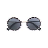 Valentino Eyewear Óculos De Sol Redondo Com Tachas - Preto