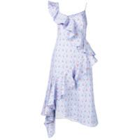 Teija Vestido Assimétrico Floral - Azul