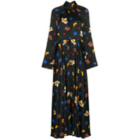 Solace London Vestido Longo Akan Com Estampa Floral - Preto