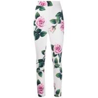 Dolce & Gabbana Legging Tropical Rose Com Estampa - Branco