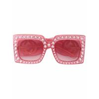 Gucci Eyewear Óculos De Sol Oversized 'hollywood Forever' - Rosa