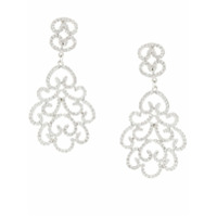 Kenneth Jay Lane Par De Brincos Pave Filigree - Prateado