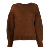 Closed Dropped Shoulder Sweater - Marrom