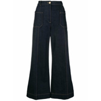Nina Ricci Cropped Wide-Leg Jeans - Azul