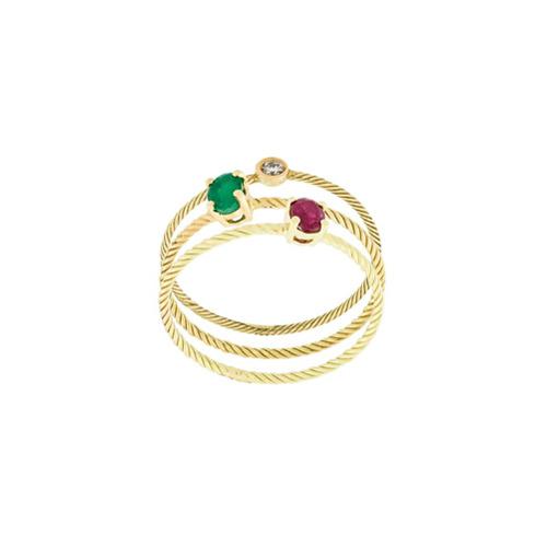 Imagem de Wouters & Hendrix Gold Conjunto de anéis com rubi, diamante e esmeralda - Metálico