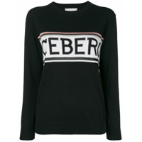 Iceberg Suéter Listrado Com Logo - Preto