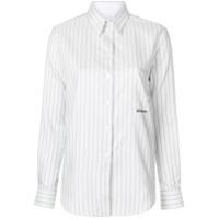 Calvin Klein 205W39Nyc Camisa Listrada Mangas Longas De Seda - Branco