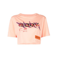 Heron Preston Camiseta Cropped Com Estampa - Laranja