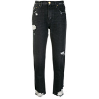 Don't Cry Distressed Cropped Jeans - Preto