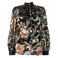 Tory Burch Camisa Floral De Seda - Preto
