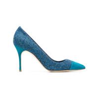 Manolo Blahnik Scarpin De Tweed Com Recortes - Azul