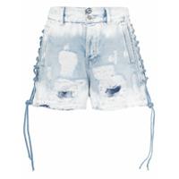 Faith Connexion Short Jeans Com Detalhes Puídos - Azul