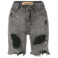 John John Bermuda Jeans Desfiada - Preto