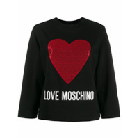 Love Moschino Heart Logo Jersey Top - Preto