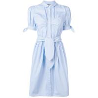 Alexa Chung Pinstripe Belted Shirt Dress - Azul