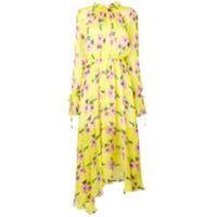 Msgm Vestido Longo De Seda Floral - Amarelo