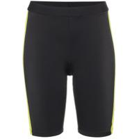 Fantabody Shorts De Ciclista Com Listra Contrastante - Preto