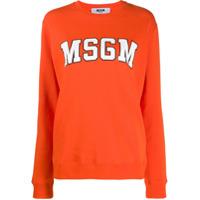 Msgm College Logo Print Sweater - Laranja