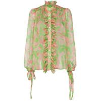 Ronald Van Der Kemp Blusa Translúcida Floral - Green/pink
