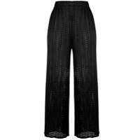 Pleats Please By Issey Miyake Mesh Cropped Trousers - Preto