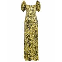 De La Vali Vestido De Seda Com Estampa Alma - Dourado