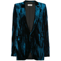 Saint Laurent Blazer De Veludo E Seda - Azul