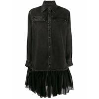Brognano Tulle-Hem Shirt Dress - Preto