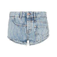 Filles A Papa Short Jeans Com Aplicação De Cristal - Azul