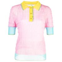 I-Am-Chen Blusa Polo Com Recortes De Seda - Rosa