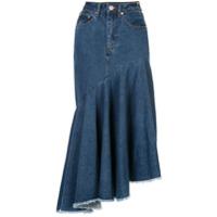 Solace London Saia Jeans Assimétrica - Azul